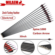6/12 Uds 30 pulgadas tiro con arco carbono flecha columna 1000 ID4.2mm fibra de carbono compuesto 2 pulgadas pavo pluma caza accesorios de tiro