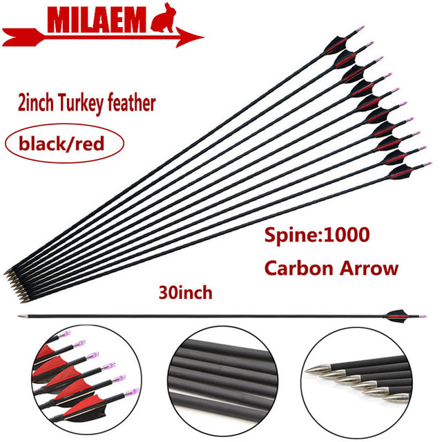 6/12pcs 30inch Archery Carbon Arrow Spine 1000 ID4.2mm Composite Carbon Fiber 2inch Turkey Feather Hunting Shooting Accessories