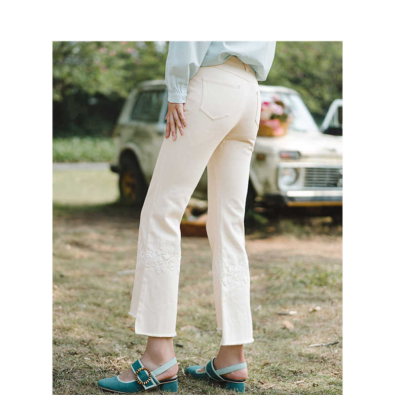 INMAN Medium Hohe Taille Literarischen Stickerei Mode Dünne Frauen Jeans