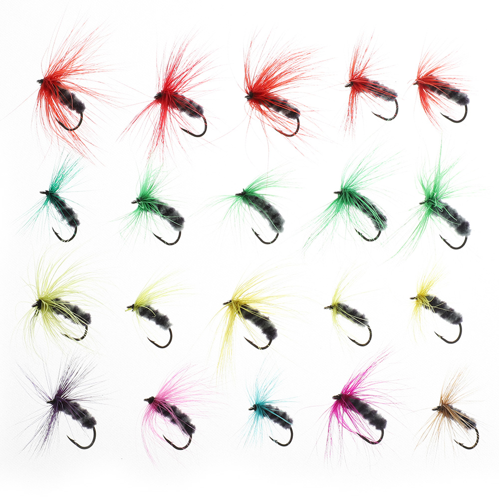 DONQL 10-50pcs Box Insects Flies Fly Fishing Lures Butterfly Trout Dry Fly Fishing Baits With Sharpened Crank Hooks Fish Tackle (7)