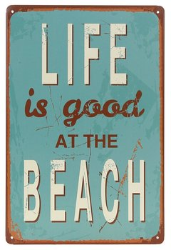 Life Is Good At The Beach Metal Tin Sign, Vintage Antique Plaque Poster Living Room Bedroom Home Wall Decor