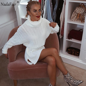 Image 4 - Nadafair White Sweater Dresses 2020 Christmas Solid Long Sleeve Mini Casual Loose Turtleneck Knitted Winter Dress Women Vestidos