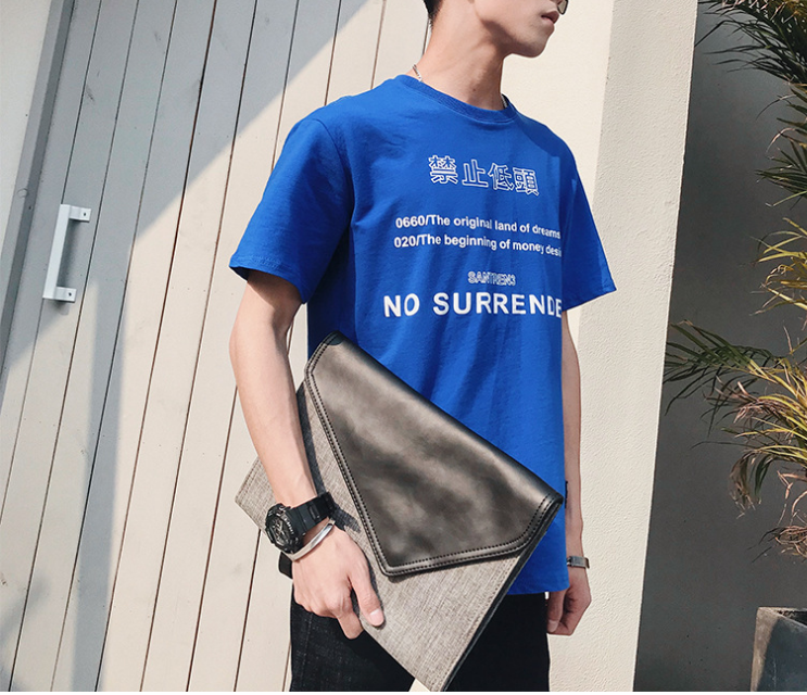 Simple Elegant Men Urban Thin Briefcase Cloth Plus Leather Modern Bags Fashion Mens Business Clutch Bag Bolso Hombre DF283