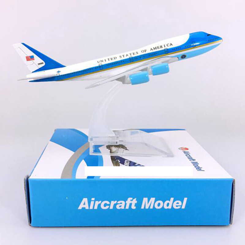 16CM Alloy Airplane 1:400 Scale Boeing B747-300 Model Air Force One Landing Gear With Base Alloy Aircraft Collectible DisplayToy