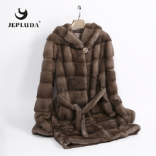 JEPLUDA High Quality Soft Warm Full Pelt Real Mink Fur Coat Women Hem Sleeve Removable Winter Coat Women Hooded Real Fur Jacket
