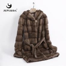 JEPLUDA wysokiej jakości miękka ciepła skóra prawdziwe futro z norek kobiet Hem rękaw wymienny płaszcz zimowy kobiety z kapturem kurtka z prawdziwego futra