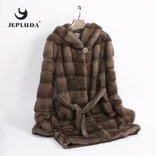 Jepluda alta qualidade macio quente completo pelt real vison casaco de pele das mulheres manga bainha removível casaco de inverno com capuz casaco de pele real