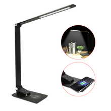 QI Wireless Charger with LED Desk Lamp USB charging Port For Mobile Phone Folding 12W Table Lamp for Learning Reading Working usb uv mobile phone sterilizer with usb charging wireless charging for qi suitable for most 6 inch mobile phone watch jewelry