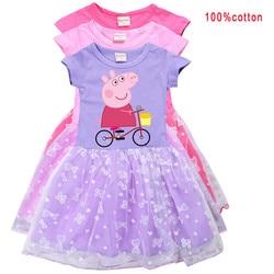 Оригинальный Peppa платья свинка одежда для малышей вечерние ботинки для Маскарадного костюма одежда для вечерние платье принцессы с юбкой-п...
