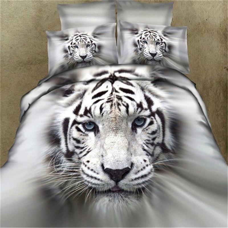 3d Lifelike White Tiger And Blue Wolf 3D Bedding Set Of Duvet Cover Bed Sheet Pillowcases Size King,Size Queen,Size Twin