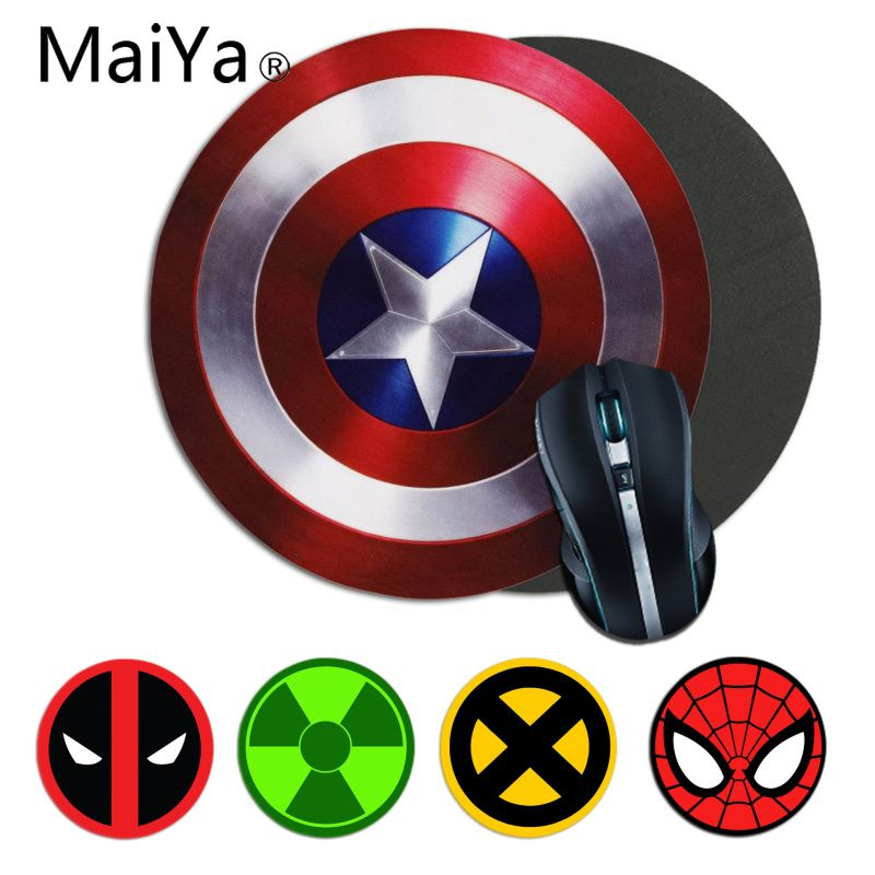Maiya Funny Marvel Hero Captain Spiderman Deadpool Logo Mousepads Gamer Gaming Mouse Pads Anti-Slip Laptop PC Mice Pad Mat