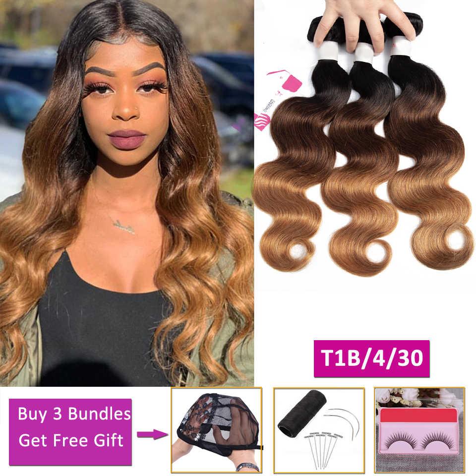 T1B/4/30 ombre sarışın vücut dalga paket İnsan saç demetleri fırsatlar olmayan remy saç ekleme perulu brezilyalı saç örgü demetleri