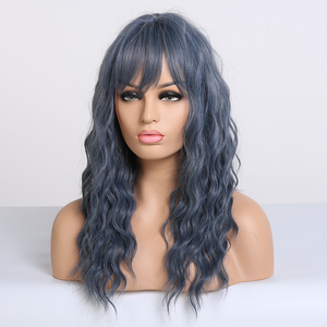 Image 5 - アランイートンミディアム波状合成ダークブルー黒人女性耐熱ナチュラルコスプレヘアウィッグサイド前髪