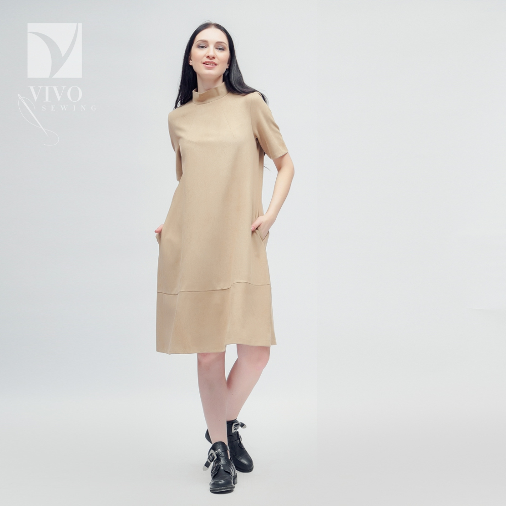 Dresses Vivostyle 2x008 for women for females clothing women's dress Cotton Beige Spring Casual dresses modis m181w00768 women dress cotton clothes apparel casual for female tmallfs