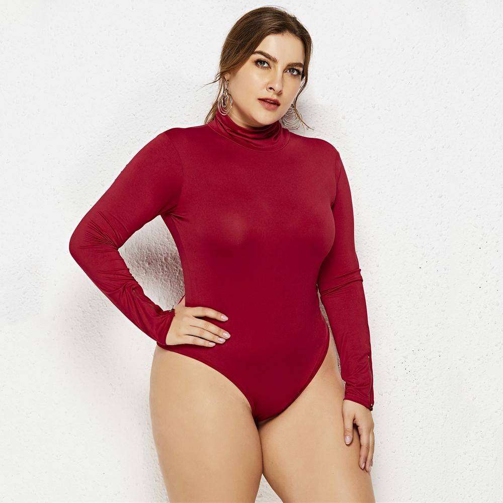Turtleneck Slim Body Women Sexy Bodysuits Autumn Winter Clothing Streetwear Basic High Elastic Casual Jumpsuits Plus Size 5XL
