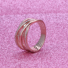 Hot Sale 925 Sterling Silver Rose Gold Ring Hollow Out Interweaving Ring Fashion Versatile Women's Pan Ring For Women Jewelry chic hollow out letter opening ring for women