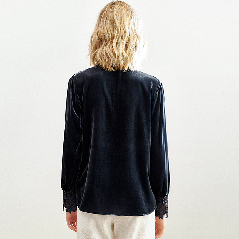 100% Silk Velvet Blouse Women Hollow Embroidery Simple Design Vintage Solid Colour V Neck Long Sleeves Casual Top New Fashion
