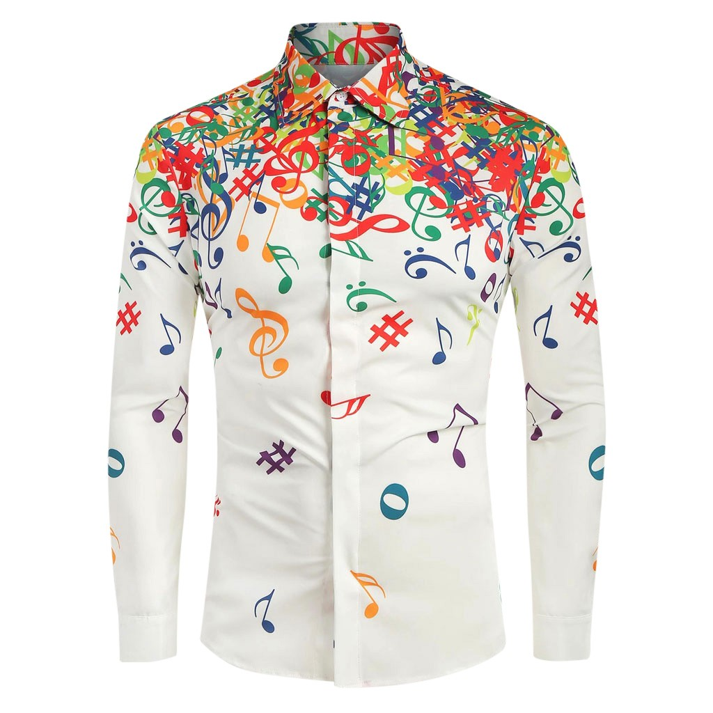 Novelty Blouse Men Casual Musical Note Pattern Print Casual Long Sleeves Artistic Shirt Top Dropshipping