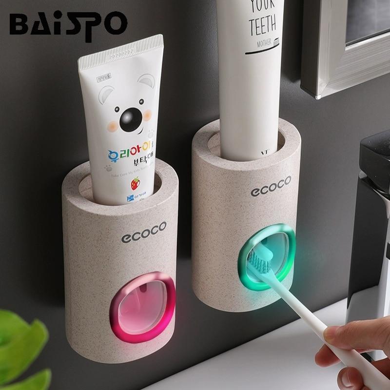 BAISPO ยาสีฟันอัตโนมัติป้องกันฝุ่นผู้ถือแปรงสีฟันติดผนังขาตั้งชุดอุปกรณ์ห้องน้ำยาสีฟัน Squeezer