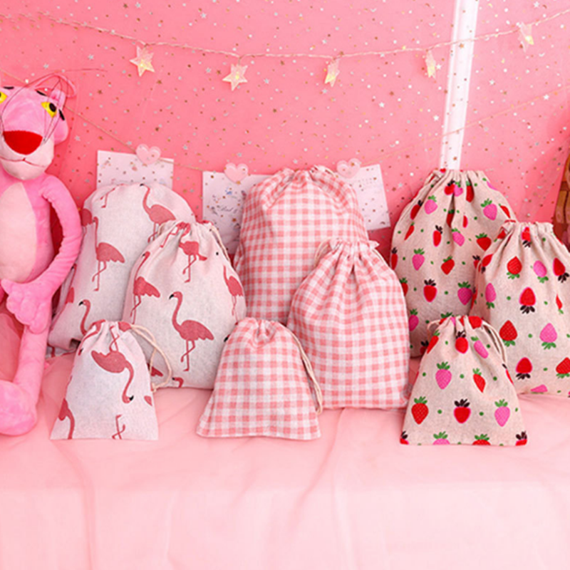 7bd03e05619d Cotton Strawberry Drawstring Bag Women Travel Cosmetics Bags Shoes ...