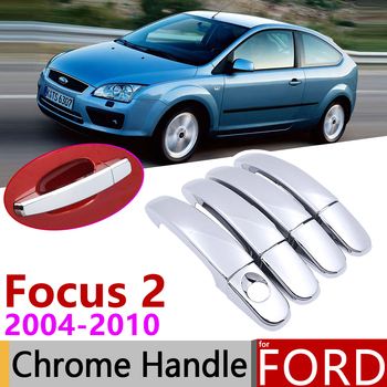 for Ford Focus 2 MK2 MK2.5 2004~2010 Chrome Door Handle Cover Car Accessories Stickers Trim Set of 4Dr 2005 2006 2007 2008 2009 image