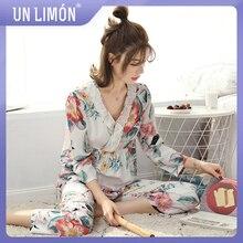 UNLIMON Women Sleepwear Korean Fashion Pyjamas Sets Cotton V-collar Fruits Long-sleeve Pants Home Suit