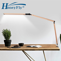 HoneyFly LED Dimmable Long Arm Foldable Eye Protection Bed Lamp Study Remote Control Clip on Reading Desk lamp