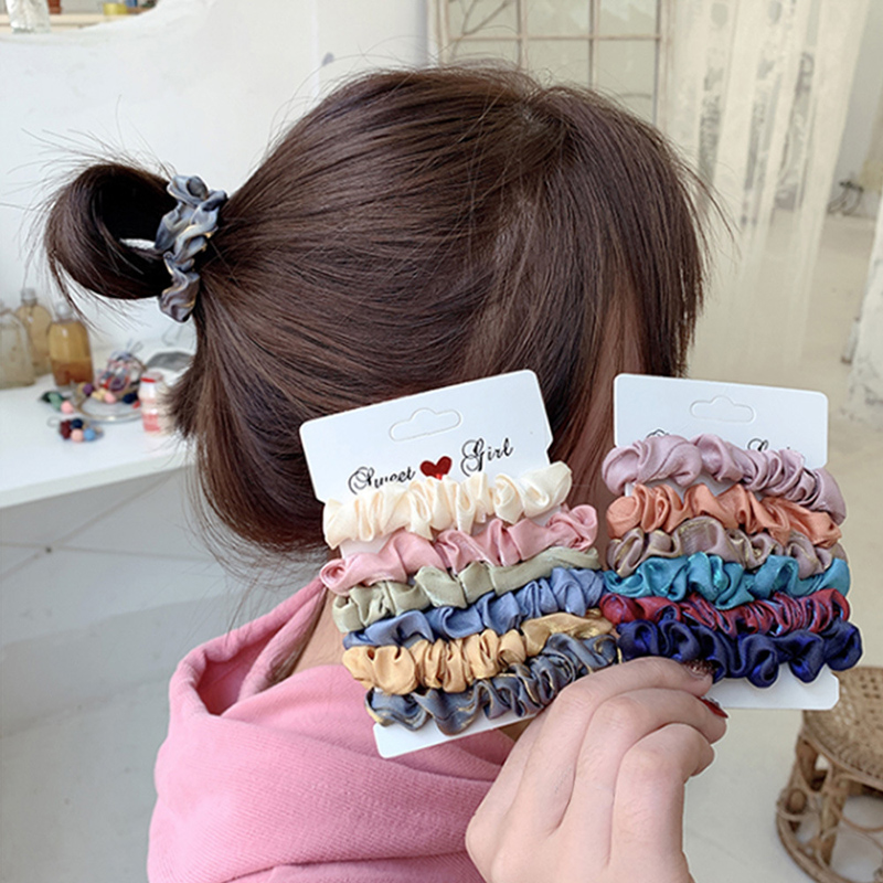 1 Set Scrunchies Pack 2020 nuevo cabello Srunchies Color caramelo lazos de pelo mujeres Otoño Invierno Cola de Caballo titular regalos accesorios para el cabello