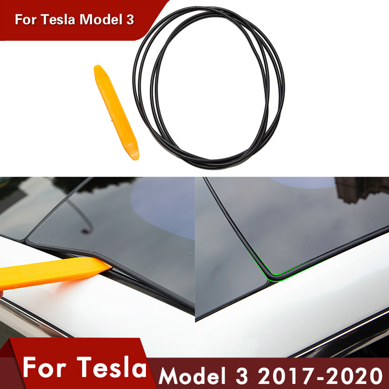 1 Set Model 3 Car wind Noise Reduction Kit Quiet Seal Kit For Tesla Model 3 Accessories Skylight glass sealing strip three 2020