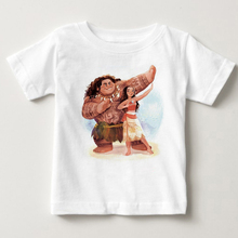 Children Clothes Moana Vaiana School Shirts for Boys and Girls Tops Tees Trolls Cotton Printed Summer T-shirt Kid Clothing 2019