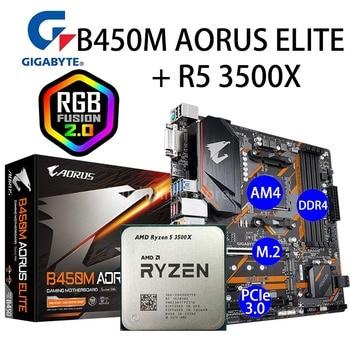 Socket AM4 B450M AORUS ELITE + AMD Ryzen 5 3500X Motherboard Set PCI-E 3.0 M.2 3.6GHz Desktop B450 Placa-mãe AM4 Ryzen 5 New