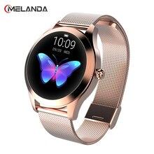 MELANDAผู้หญิงสมาร์ทนาฬิกาIP68 Heart Rate Monitorข้อความCall Reminder Pedometerแคลอรี่Smartwatchผู้หญิงนาฬิกาสำหรับAndroid IOS