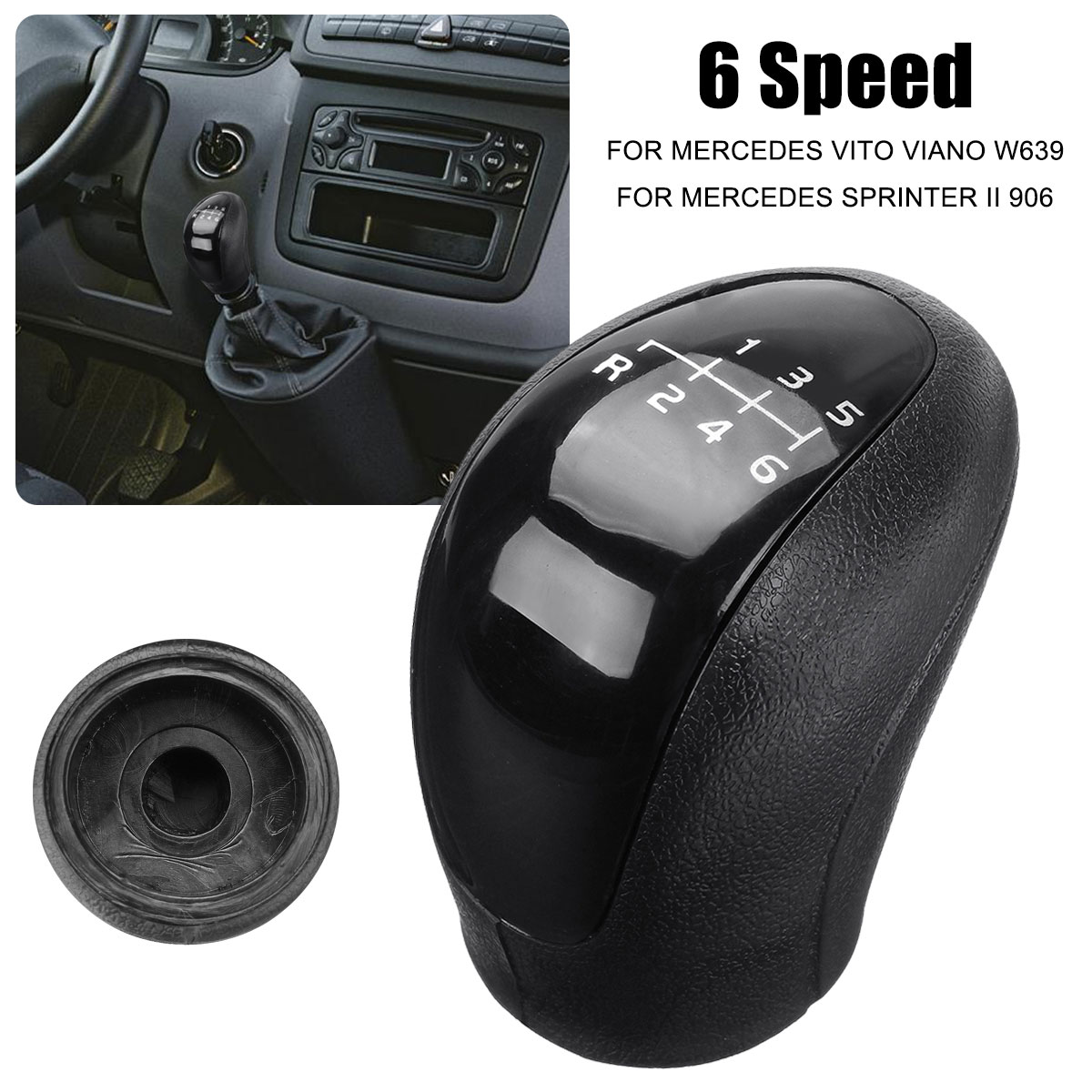 6 velocidade do botão de deslocamento de engrenagem do carro cabeça capa shifter alavanca vara para mercedes vito viano sprinter ii/vw-crafter