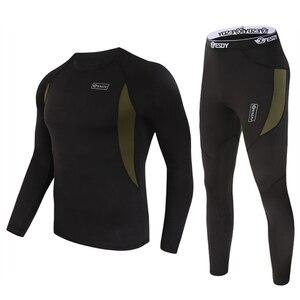 Image 3 - ESDY مجموعة ملابس داخلية شتوية حرارية ، بدلة رياضية سريعة الجفاف ، تي شيرت طويل مسامي ، ضيق ، سروال سترة دراجة نارية