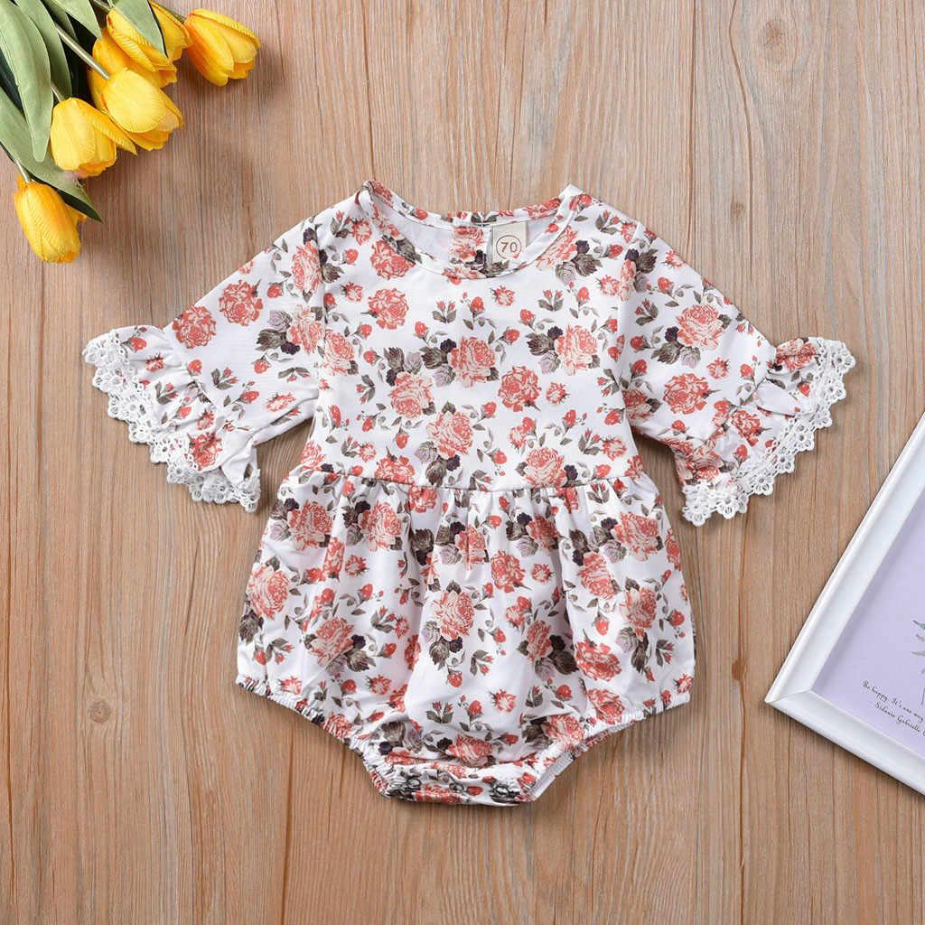 2019 แขนยาวพิมพ์ ruffled แขนทรัมเป็ตทารกแรกเกิดเด็กผู้หญิงเด็ก Ruffle ดอกไม้พิมพ์ Romper Jumpsuit เสื้อผ้า