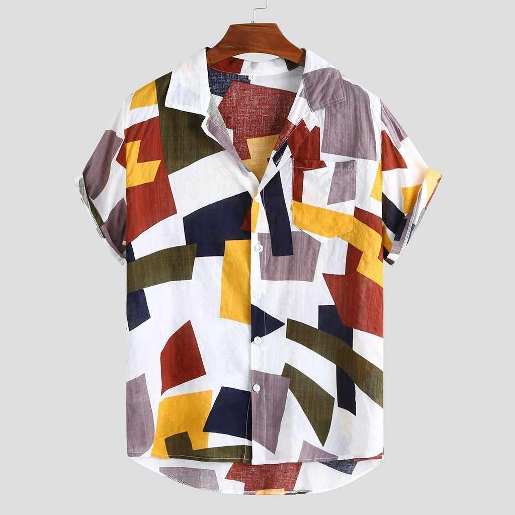 Mode Shirt Herren Gedruckt Hawaiian Lose Kurzarm Casual Tasten T Hemd Alle Saison Hohe Qualität Hemd 3,21