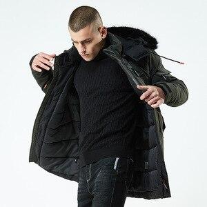 Image 4 - 2020 kış ceket erkekler uzun kürk yaka kapüşonlu Parka erkekler için kalın sıcak ordu askeri taktik rüzgar geçirmez giyim spor ceket