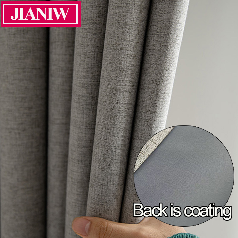 JIANIW Faux Linen Foam Back Blackout Curtain Thermal Insulated Soundproof Blinds Drapes For Bedroom Living Room Custom Made