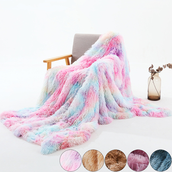 Tie Dye Blankets Bedding Winter Fur Throw Blanket Fleece Flannel Fur Throw Blanket Sleep Thick Blankets Beds Home Textile D30 1