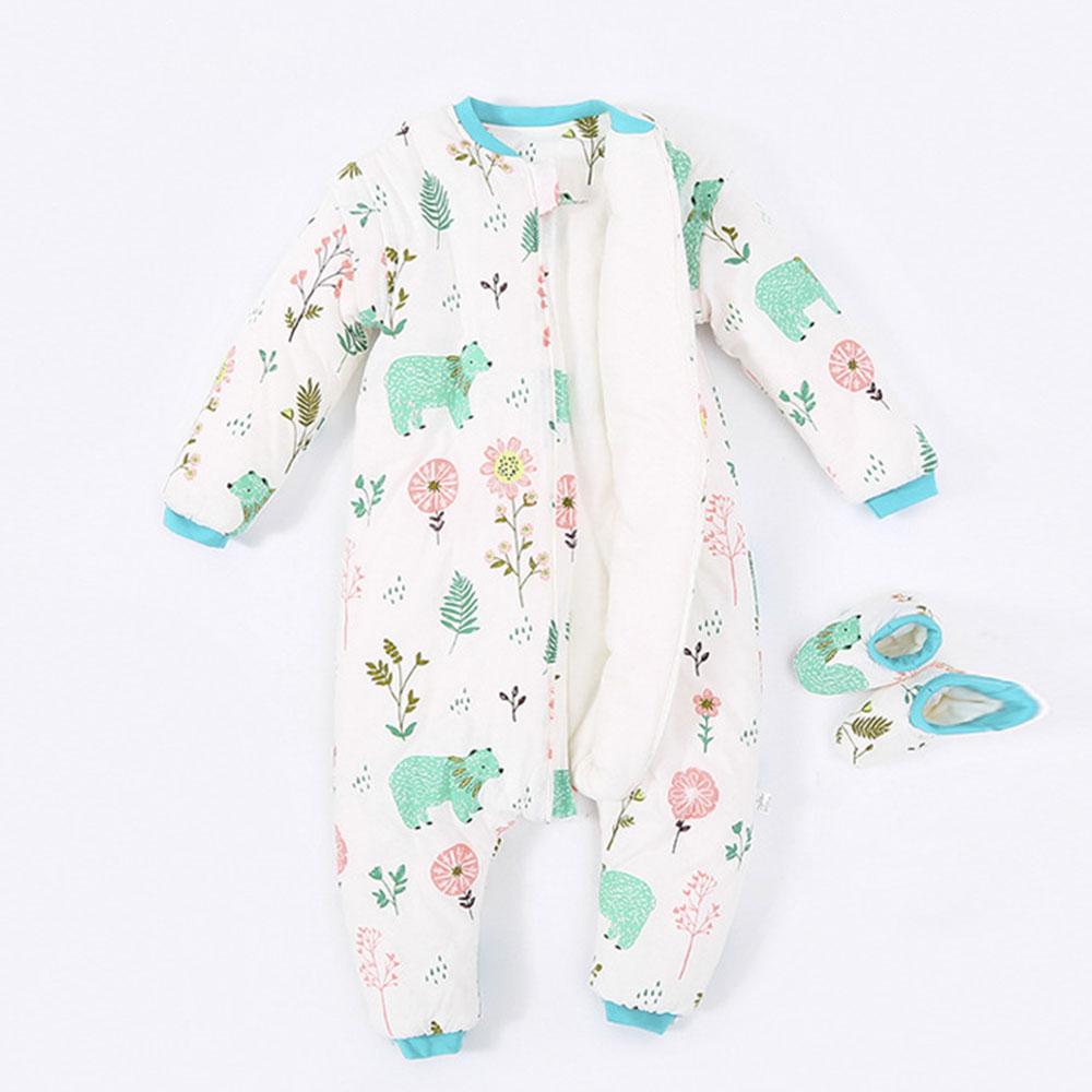 Image 4 - Baby Split Leg Sleep Bag Thick Winter Warm Anti Tipi 0 24M ChildrenS Sleeping Bag Cute Animal Printed Free Gifts Shoe CoverSleepsacks   -