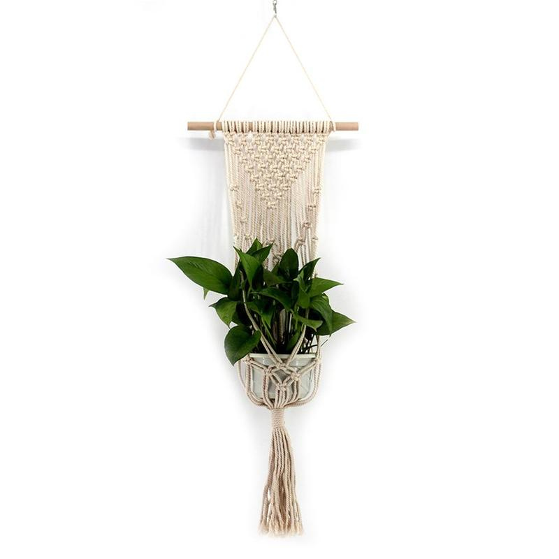 EASY-New Tassel Bohemian Macrame Woven Wall Hanging Handmade Knitting Tapestry Home Office Wall Decoration Vqw2701