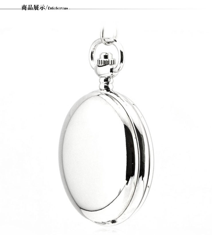 White Polished Double Open Cover Mechanical Pocket Watch Stainless Steel Vintage Metal Pocket Watch Gifts