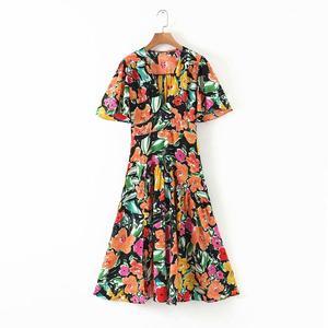 2020 New women vintage colorful graffiti print casual slim midi dress femme v neck hem pleats side split vestidos dresses DS3502(China)