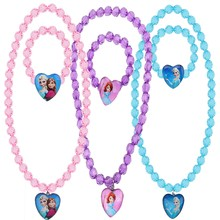 2Pcs/Set Disney Frozen Necklace Cute Princess Bracelet Toys Cartoon Anime Heart Shaped Pendant Girls Birthday Children Toy Gift