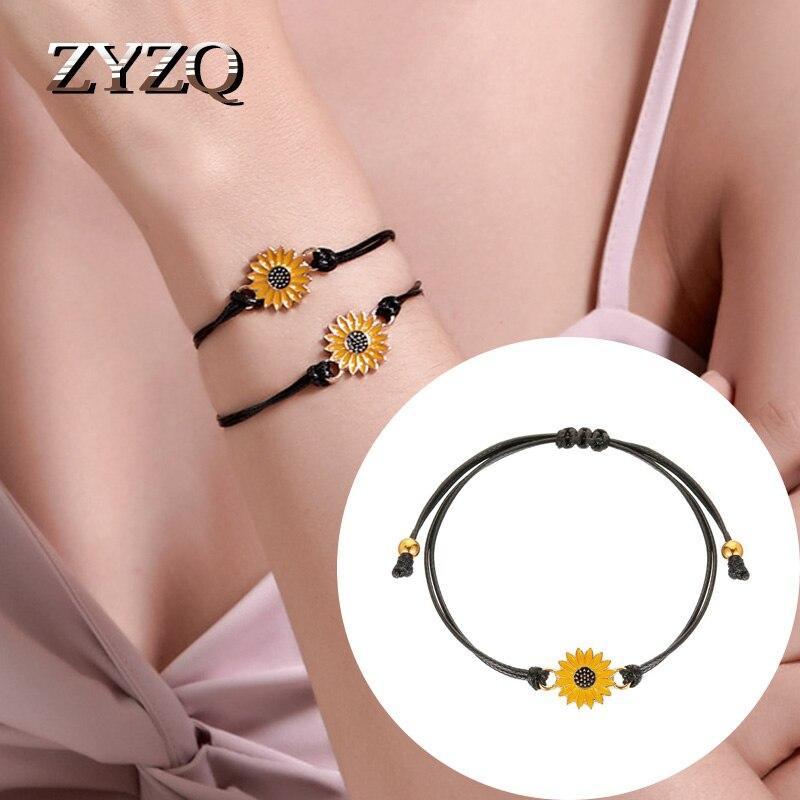 Zyzq verão casal daisy pulseira simples pequeno fresco metal corda preta pulseira presente de aniversário