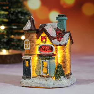 Resin Miniature House Furniture LED House Decorate Creative Christmas Gifts For Dolls Handmade Toys For Children Navidad#35