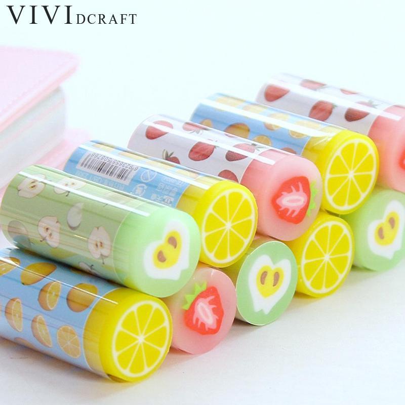 Vividcraft Fruit Cartoon Candy Color Stationery 2B Style Student Pencils Supplies New Eraser Kawaii Eraser School Combinati A5L5