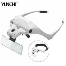 5 レンズヘッド拡大鏡歯科ルーペ歯科用交換ブラケットとヘッドバンド拡大鏡 2 led ランプで