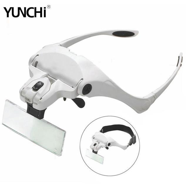 5 עדשות ראש זכוכית מגדלת שיניים זכוכית מגדלת עם להחלפה סוגר וסרט מגדלת משקפיים לרפואת שיניים עם 2 LED מנורות