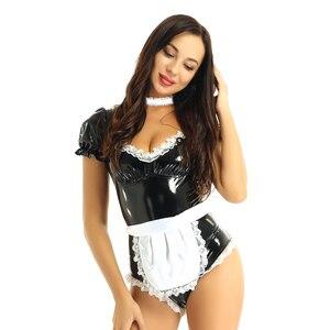 Image 2 - เซ็กซี่ฮาโลวีนเครื่องแต่งกายสำหรับผู้หญิงภาษาฝรั่งเศสแม่บ้านCOSPLAY Uniform Sweet HeartหนังLeotard BodysuitชุดLatexแม่บ้านเสื้อผ้าFemme
